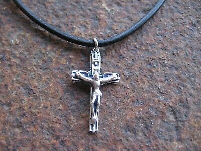 Einfach Kreuz Kette Herren Halskette Leder Schwarz Braun Jesus Kreuzkette Lederkette Neu