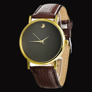 cheap price gold bezel leather watches casual