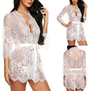 7b339bd4bca Women Lady Sexy Lace Kimono Robe Lingerie Eyelash Babydoll Sheer ...