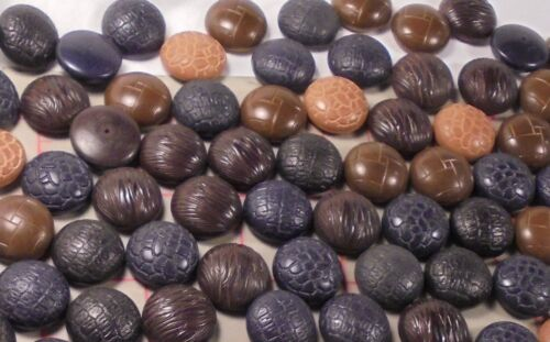 Multi Colored Muti Textured Wooden Cabochons 5 Ounces Blk Navy Browns 18mm 3//4/""
