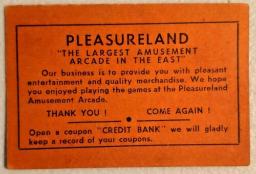 1940s Vintage Pleasureland Skeeball Surf Av Coney Island Brooklyn Game Coupon