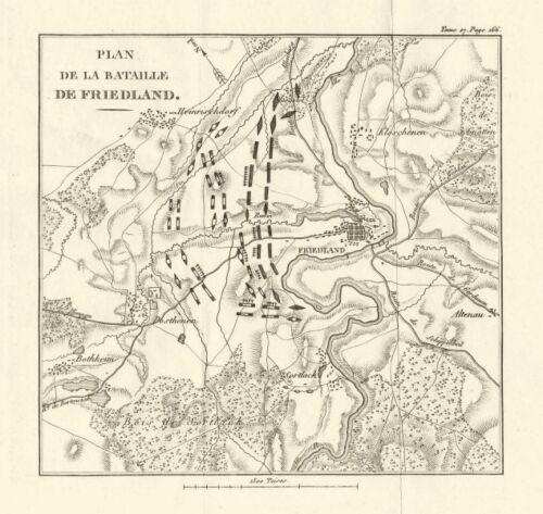 East Prussia Battle of Friedland//Pravdinsk 1807 Fourth Coalition War 1820 map