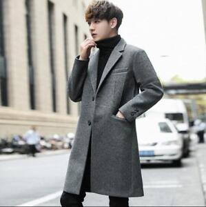 Korean-Fashion-Mens-Cashmere-Blazer-Coat-Mid-Long-Wool-Blend-Lapel-Slim-Jackets