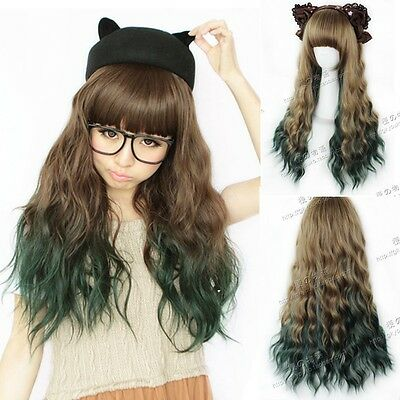 Lolita Brown+Green Gradient Wig Corn Wavy curly Long Ombre Hair Cosplay Costume