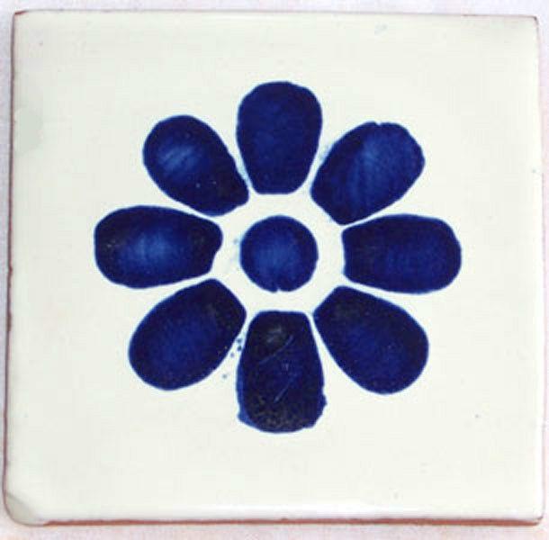 C036- Mexican Handmade Talavera Clay Tile Folk Art 4x4