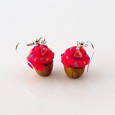 cupcake earrings strawberry cute emo retro buns sweet food drops