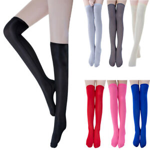e451caf6383 Women Sheer Tights Stockings Over Knee Thigh High Stretchy Pantyhose ...
