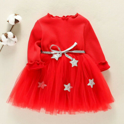 Toddler Kids Baby Girls Long Sleeve Star Printed Clothes Party Princess Dresses