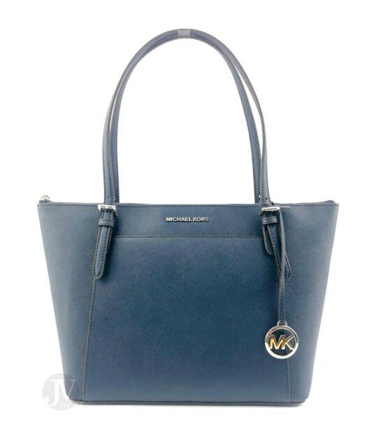 Michael Kors Ciara Large Top Zip Tote Shoulder Leather Bag Navy Blue