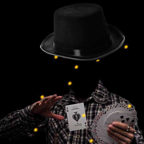 55CM Childs Top Hat Satin Magician Butler Fancy Dress Costume Top Hat Nice Item