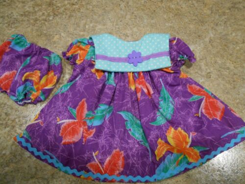 """VINTAGE CHATTY CATHY 18-20/"""" NEW HANDMADE 2 PC PURPLE HAWAIIAN WITH FLORAL OUTFIT"""