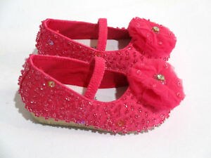 COASTAL-PROJECTIONS-HOT-PINK-bEADED-INFANT-BIG-GIRL-FLATS-SHOES-NEW-0-1-2-3-4Yth