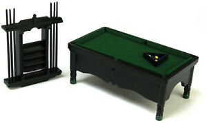Dolls-House-12th-scale-POOL-TABLE-SET-BLACK-T5984