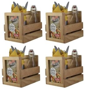 Image Is Loading 4x Wooden Cutlery Condiment Sauce Holder With Menu
