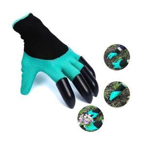 Paar-Handschuhe-Gartenhandschuhe-Schutz-for-garten-Graben-Pflanzen-4Krallen