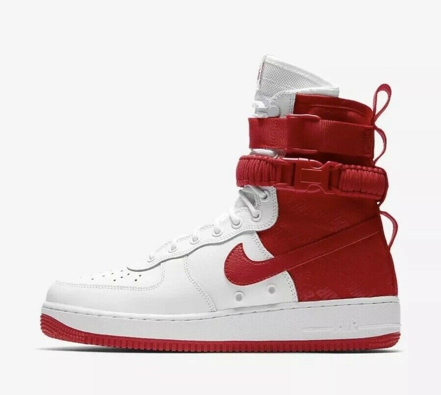 2018 Nike Air Force 1 High SF AF1 SZ 12 Special Field White Uni Red AR1955-100