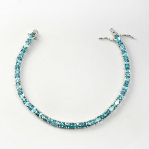 Details about  /Oval 6x4mm Natural Swiss Blue Topaz Gemstone 925 Sterling Silver Tennis Bracelet