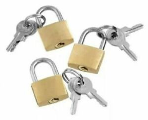 3 PC SET 20MM SMALL SECURITY PADLOCKS 2 KEYS Hand BAGS SUITCASE TRAVEL LUGGAGE