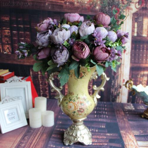 C6E7 Fake Peony Silk 12 Heads Purple Flowers Bridal Garden Decor Flower