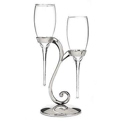Raindrop Wedding Toasting Glass Champagne Flutes Rhinestones Silver Swirl Stand
