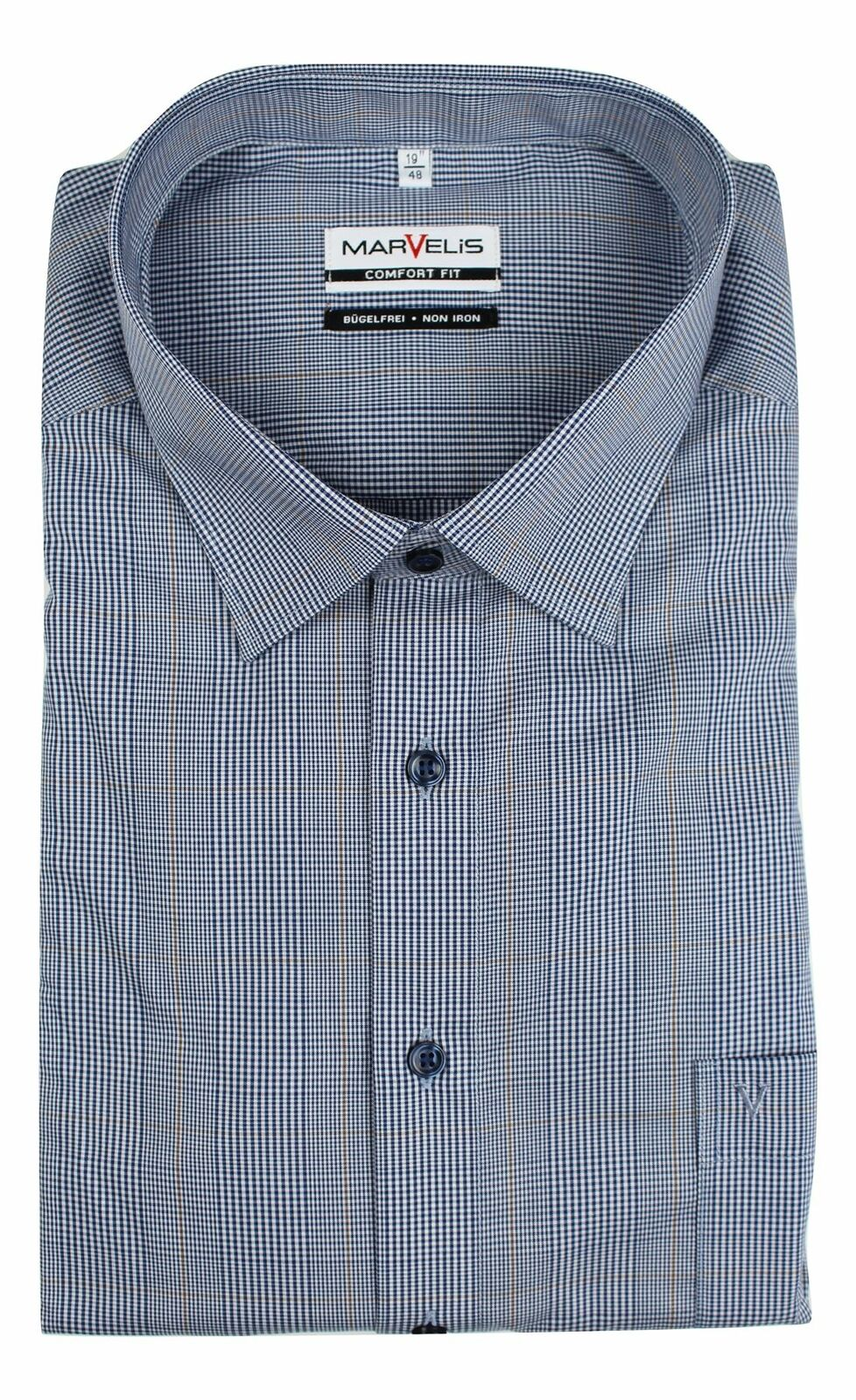 Navy Mix Prince of Wales Spread Collar