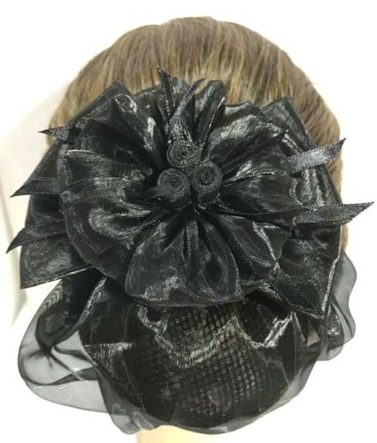 Beautiful Mini 3 Roses Black Bow Ribbon Flower Hair Clip Snood Net Bun Cover