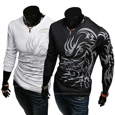 Fashion Men's Slim Fit Printed Long Sleeve O-Neck Casual Tops T-Shirt Muscle Tee
