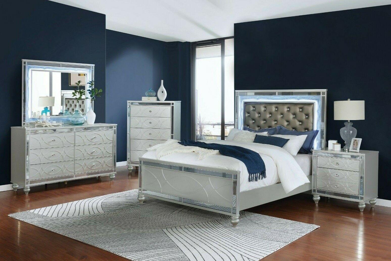 Modern 12-Piece Bedroom Set Queen Bed with LED Headboard & Mirror Metallic  Silver