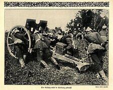 1914 Kampf um Namur * Ein Gechuetz wir in Stellung gebracht *  WW1