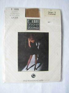 DéLicieux Vintage Avec Couture Bas Point Talons Couture Designer Large Caramel! 5 Deniers-afficher Le Titre D'origine