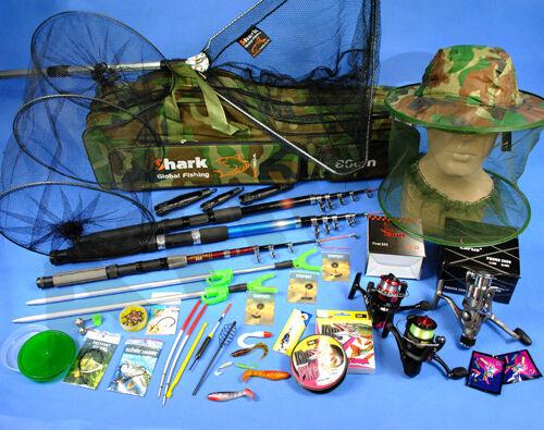 COMPLETE RICH Fishing Set 3x ROD 3x 3x 3x ROLE, landing net, bag, accessories Z66 bceeda