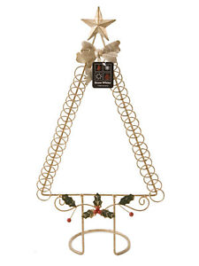 Details About 50cm Gold Wire Christmas Tree Star Card Holder Xmas Display Festive Decoration
