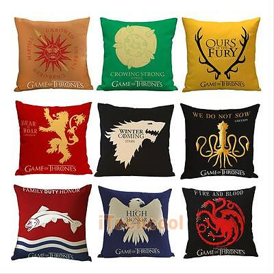 Game of Thrones House Sigils Home Sofa Decor Pillow Case Cushion Cover Square