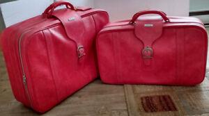 Vintage-Red1970-039-s-Samsonite-Caribbean-2PC-Soft-Luggage-Gorgeous-set