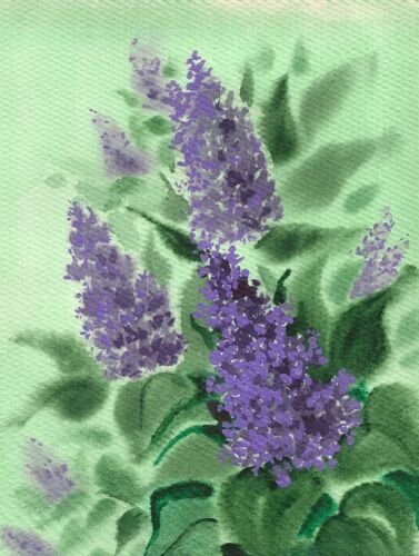 1.5x2 DOLLHOUSE MINIATURE PRINT OF PAINTING RYTA 1:12 SCALE LILAC FLOWER BOTANY