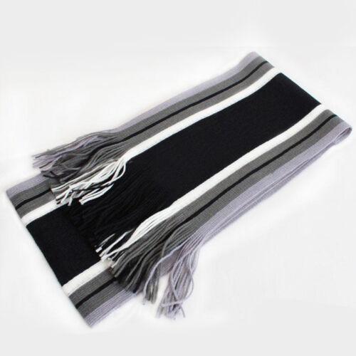 HOT Classic Men Soft Cashmere Scarf Winter Warm Fringe Striped Tassel Shawl Wrap