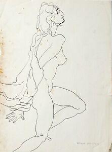 Dessin  original à l'encre  par Arthur  GREUELL   - femme nue -