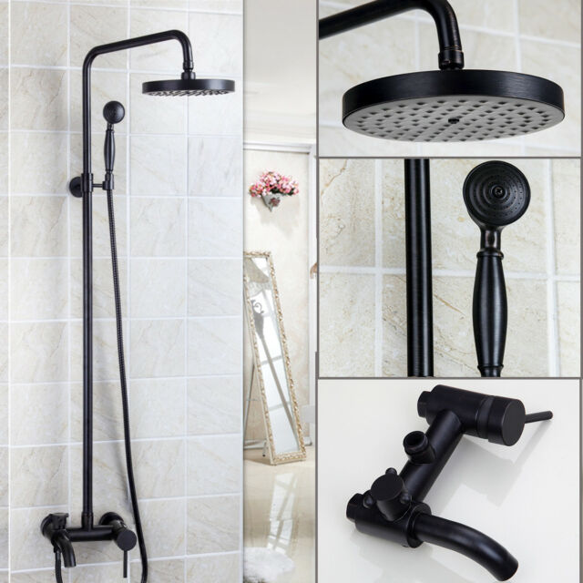 Oil Rubbed Bronze Bathroom Dual Handle Rainfall Shower Faucet Set Tub Mixer Tap