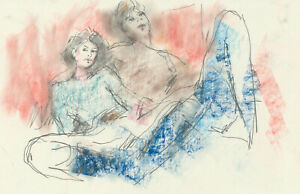 Peter Collins ARCA - c.1970s Crayon, Man and Woman in Interior