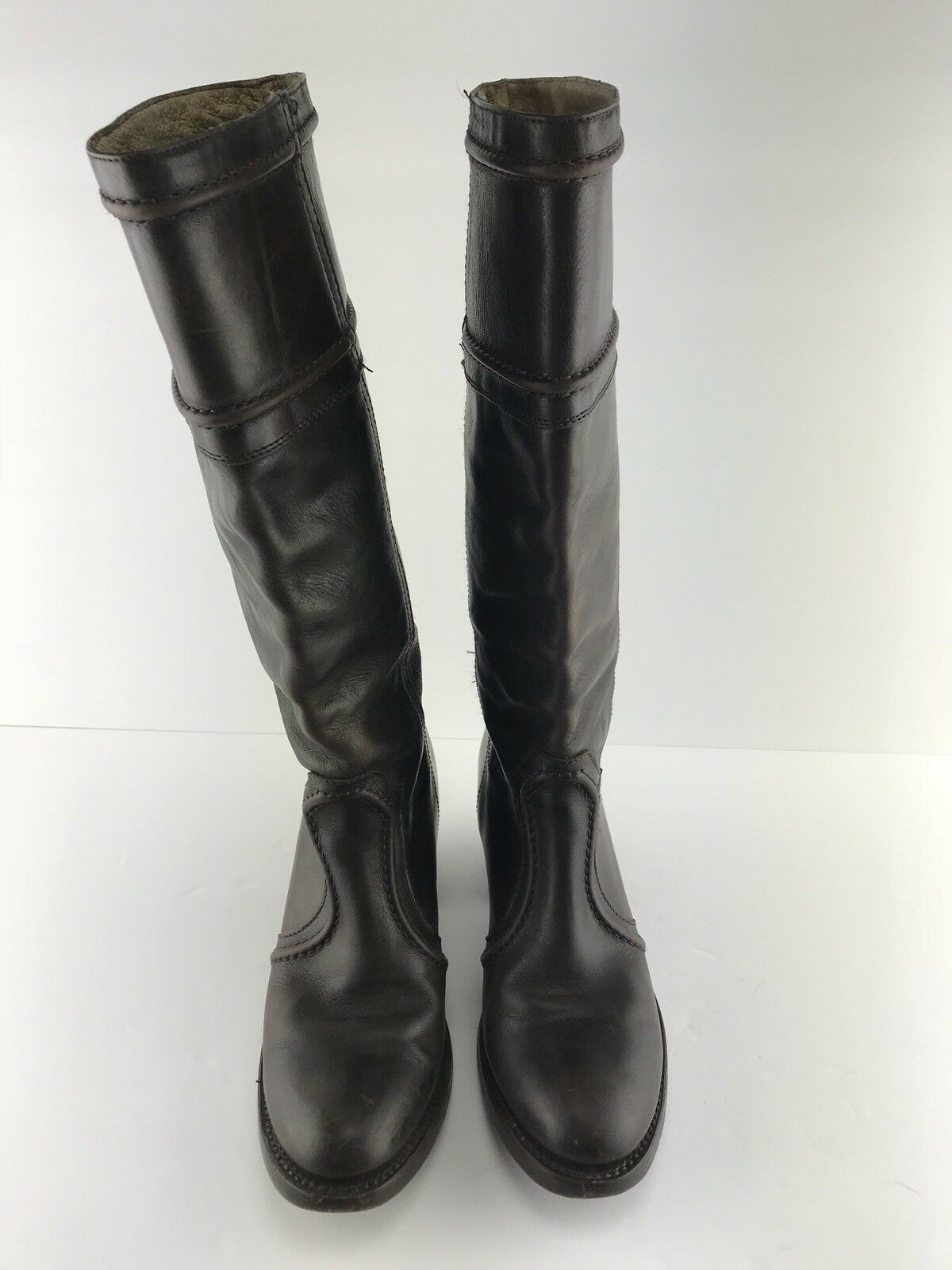 Womens Frye Brown Jane Leather Slip On Knee High Riding Boot Size 7B