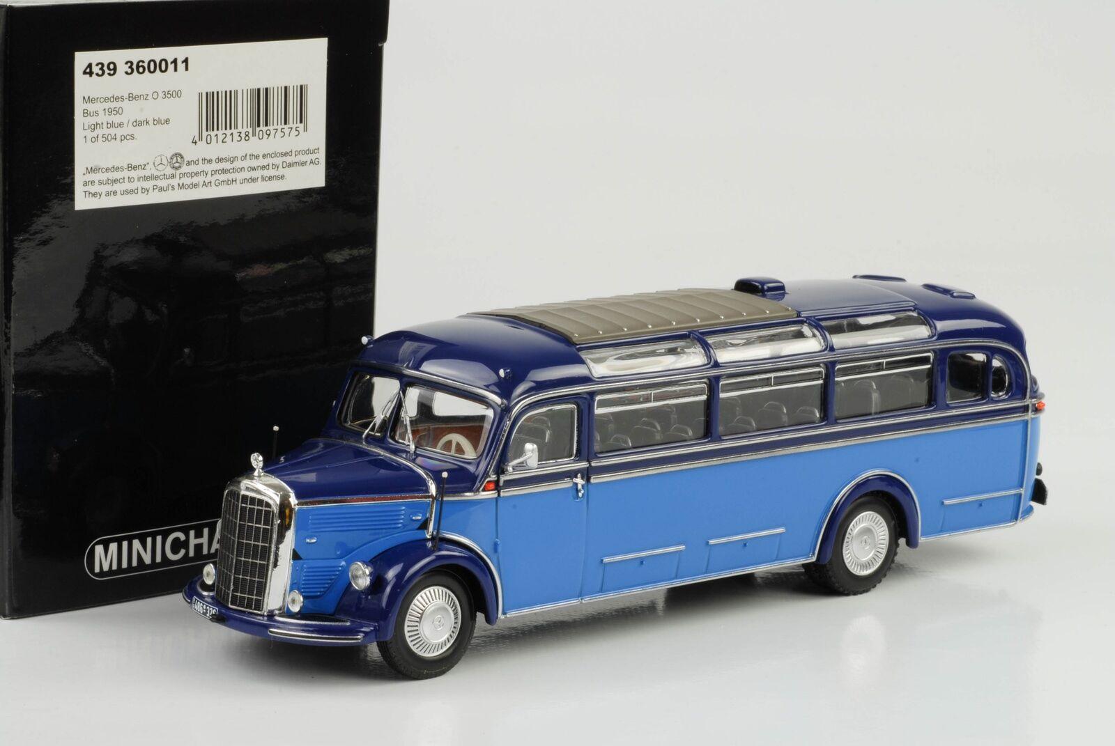 1950 Mercedes -Benz O 3500 buss Hell Dunkel blå 1 43 Minichamps