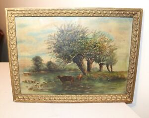 antique-original-pastoral-cow-river-farm-landscape-oil-painting-framed-art