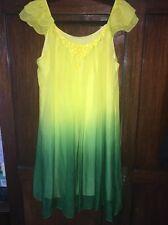 Rebecca Taylor Yellow And Green Silk Dress Kaftan Designer Sz L Net A Porter