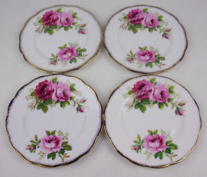 Set-4-x-Bread-Plates-6-1-4-034-Royal-Albert-American-Beauty-England-vintage-Roses