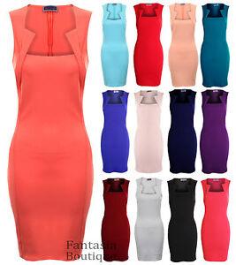 Ladies-Pencil-Skirt-Square-Neck-Slim-Effect-Bodycon-Womens-Dress-8-10-12-14