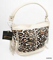 $318 B Makowsky Andrea Haircalf & Glove Leather Bucket Hobo W/ Fringe Stone