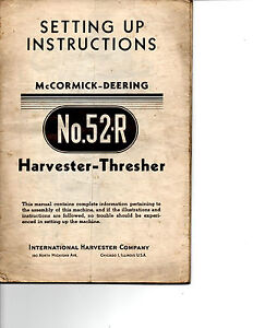 1946-McCORMICK-DEERING-HARVESTER-TRASHER-No-52R-SETTING-UP-INSTRUCTIONS-MANUAL