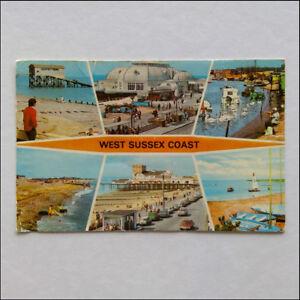 West-Sussex-Coast-6-Views-1977-Postcard-P361