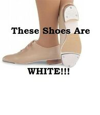 Capezio 354 White Women's 8W (Fits 8-8.5) Leather Jazz Lace Up Tap Shoes SCUFFS