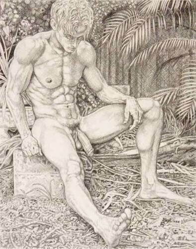 """9/"""" x 12/"""" drawing print nude male seated in garden gay interest"""